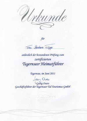 Urkunde Tegernseeer Heimatführer